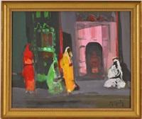 trois indiennes, un indien à la porte d'un temple à jaipur (rajasthan) by marcel mouly