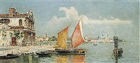 gondolas and a barge moored at a venetian quay, santa maria della salute beyond by antonio maría de reyna manescau