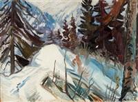 winterliche gebirgslandschaft mit tannen by karl aegerter