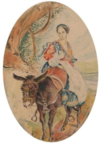 peasant woman on a mule by karl pavlovich bryullov