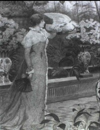 lady in a solarium admiring a cockatoo by james macbeth