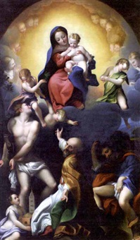 madonna of saint sebastian (after correggio) by fabrizio santafede