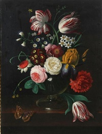 floral still life with tulips, roses and butterfly by erich josef donau dogarth