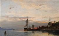 fischerdorf im norwegischen fjord bei sonnenuntergang by georg anton rasmussen