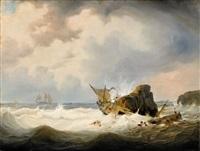 shipwreck by a rocky coastline by johann baptist weiss