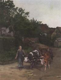 eifler landleben. bäuerin mit ochsengespann auf der dorfstraße in dorscheid by katharina correggio