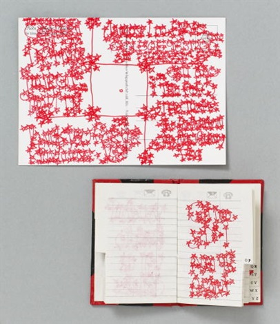 ohne titel (3 works of various sizes, incl. address book, picture postcard, photo repro, all reworked with red felt-tip pen) by james lee byars