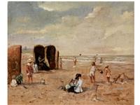 strandszene mit spielenden kindern by louis soonius