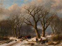 winterlandschaft mit hirte und reisigsammlern by johann bernard klombeck