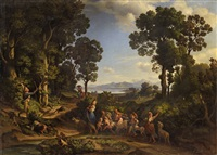italian landscape with shepherdesses, children and goats by heinrich gärtner