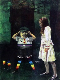 alice in wonderland, tweedledum; the mad hatter (pair) by peter blake