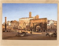 a view of the roman forum by salomon corrodi