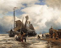 sailing boats landing on a beach by andreas achenbach