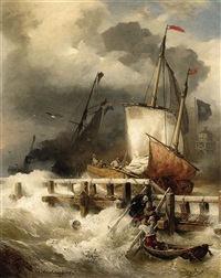 arrival at the pier in stormy sea by andreas achenbach
