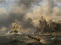 ships on stormy water by govert van emmerik