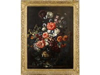 still life of a carved urn of mixed flowers upon a ledge by gaspar pieter verbruggen the younger