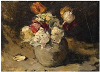 still life with flowers in a vase by george hendrik breitner