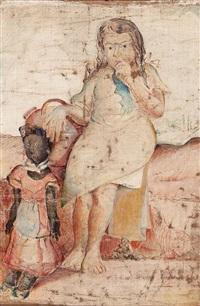 muchachita sentada con una muñeca y una pimpina de agua by armando reverón