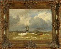 segel- und dampfschiff auf stürmischer see by andreas achenbach