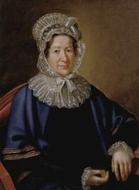 porträt einer dame mit weißem spitzenhäubchen und blauem umhang by karl gottlieb schweikart