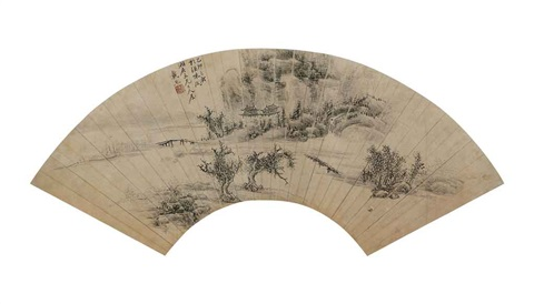 landscape with pavilions by dai xi