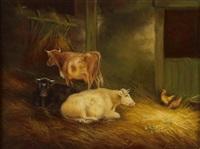 kühe im stall (+ schafe im stall; pair) by a. jackson