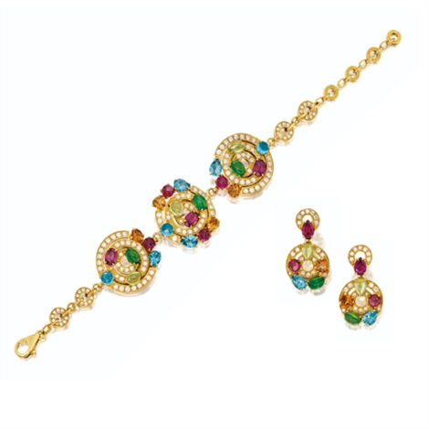 a bracelet and pair of matching pendent ear clips set of 2 by bulgari