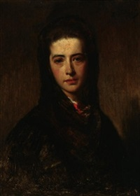brustporträt einer aristokratin (emilie von stratner?) by heinrich von angeli