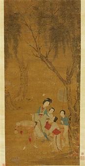 游春图 立轴 绢本 by qiu ying