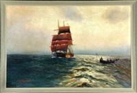 dreimaster und fischerboot auf hoher see by alfred jensen