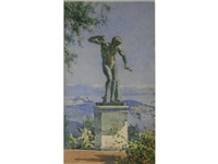 a statue of a dancing faun, above corfu by angelos giallina