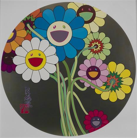 花(两幅 胶印 (flower) (2 works) by takashi murakami