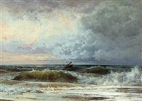 strandansicht mit einem havarierten schiff in stürmischer see vor dramatischen gewitterwolken by alexandre calame