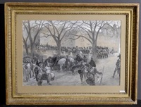 l'entrée des soldats fançais à genève ( + les soldats français au bourg-de-four; 2 works) by louis dunki