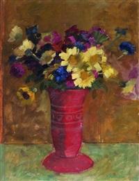 bunter blumenstrauss in roter vase by adolf holzmann
