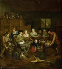 küchenszene mit figuren, gemüse und früchten by jan baptist lambrechts