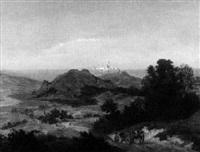 südliche berglandschaft mit stadt und kathedrale auf einem bergrücken by emanuel gottlieb leutze