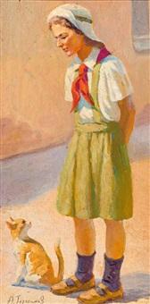 portrait eines jungen mädchens in lindgrüner schuluniform mit ihrem kätzchen by alexander michailow gerassimov