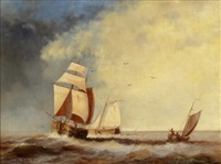 segelschiffe auf hoher see by jacob willem gruyter