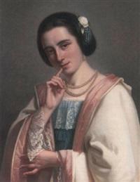 porträt einer jungen italienischen schönheit im spitzenkleid by johan hendrik (jan) koelman