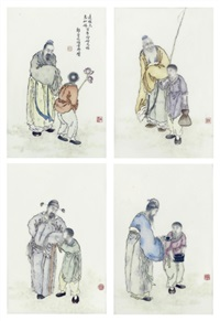 famille rose plaques (set of 4) by liu xiren