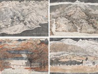 风景写生组画 (landscapes) (4 works) by zhu daoping