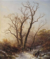 gathering wood on a cold wintersday by pieter lodewijk francisco kluyver