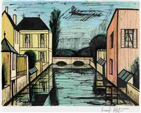 pont sur la riviere (sold with 185b; set of 2) by bernard buffet