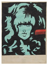 untitled (girl with comb) by karl wirsum