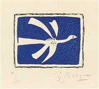 vogel auf blauem grund (from (août) by georges braque
