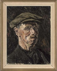 portrait of a man in a black coat and flat cap by anthony ayrton