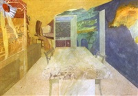 interior with seated figure by leonard rosoman