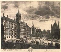 gezicht van het stadthuis der stadt amsterdam by pieter (petrus) schenk