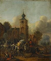 batalj vid en kyrka by simon johannes van douw